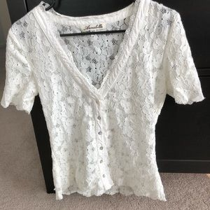 Lacey sheer v-neck button-up blouse